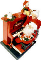 Santa at the piano playing Christmas songs